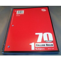 Notebook: Spiral, 70-Page, College Rule (*Carton of 48 Notebooks)